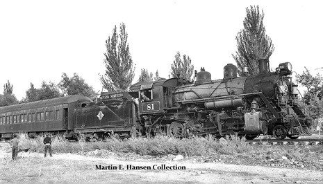 Locomotive 81, ready to push her passenger consist into the East Ely Depot
