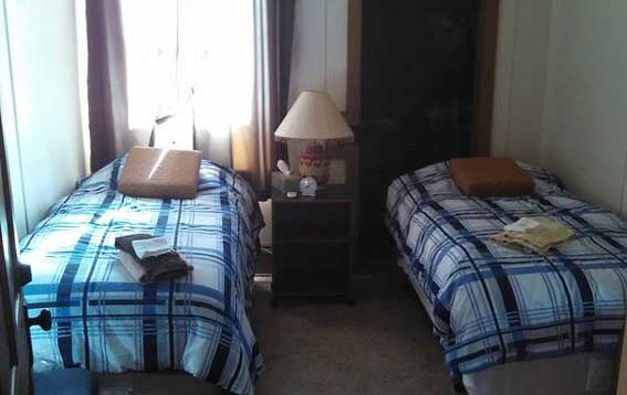 One of the bunkhouse rooms with twin beds.