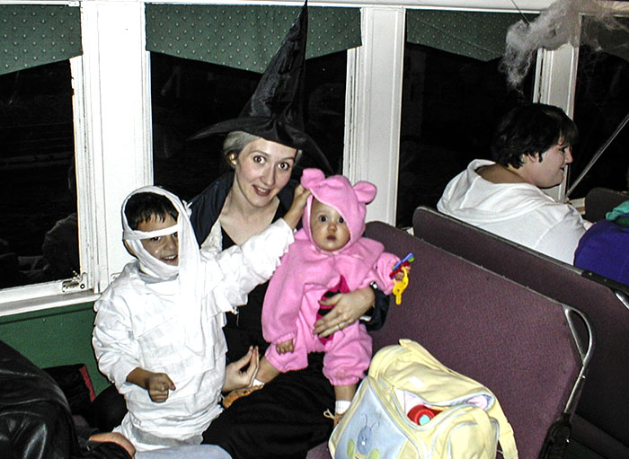 These little ghosts are ready for their ride on the Ghost Train